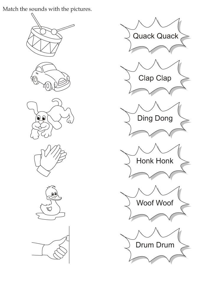 Farm Animal Sounds Preschool Worksheet Matching. Farm