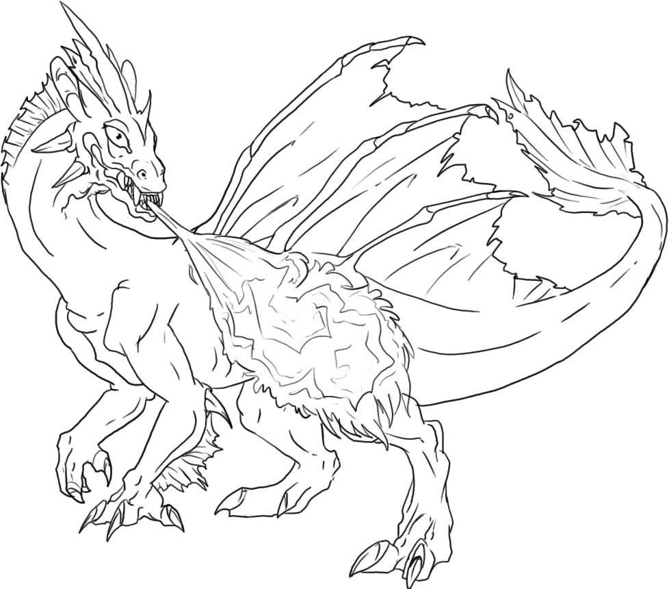 Printable Fire Breathing Dragon Coloring Pages Coloration