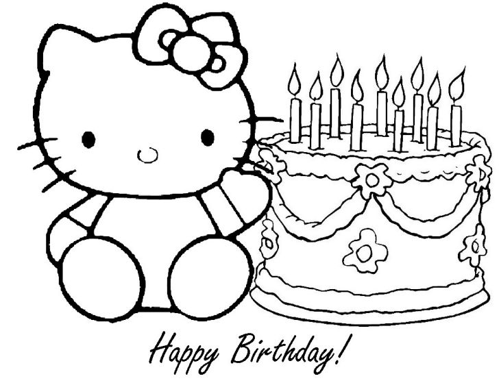 Animals And Flowers: Coloring Pages Printable Birthday. Hello Kitty Coloring Pages Happy Birthday Desktop Printable Birthday For Flowers Computer Full Hd Pics Kids
