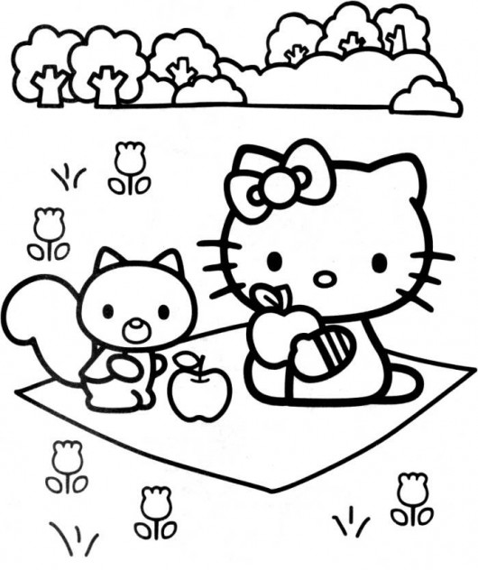 Hello Kitty On A Picnic Coloring Page