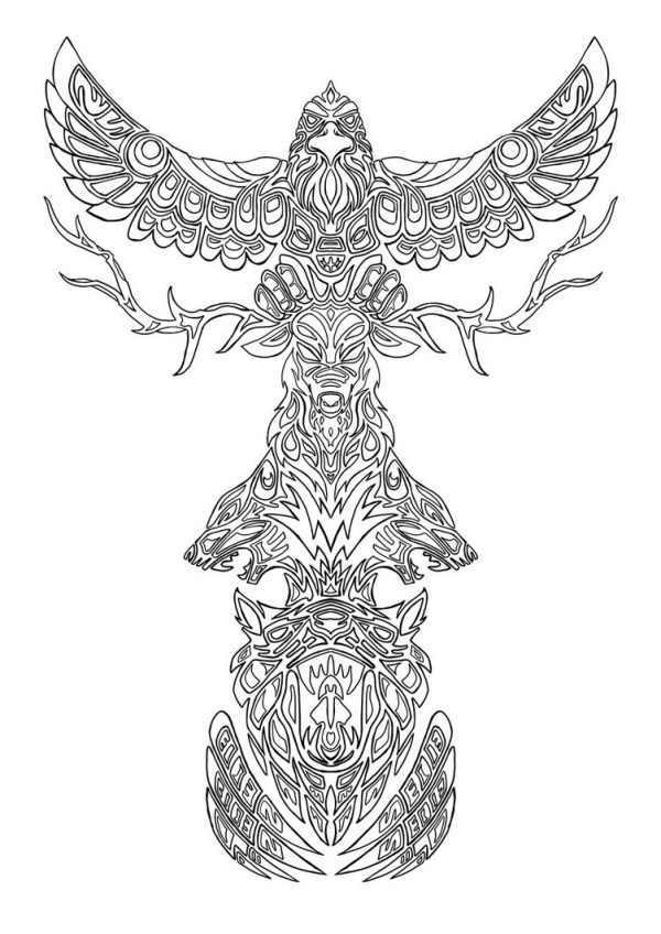 totem pole coloring pages # 53