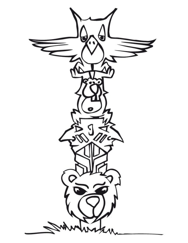 totem pole coloring pages # 9