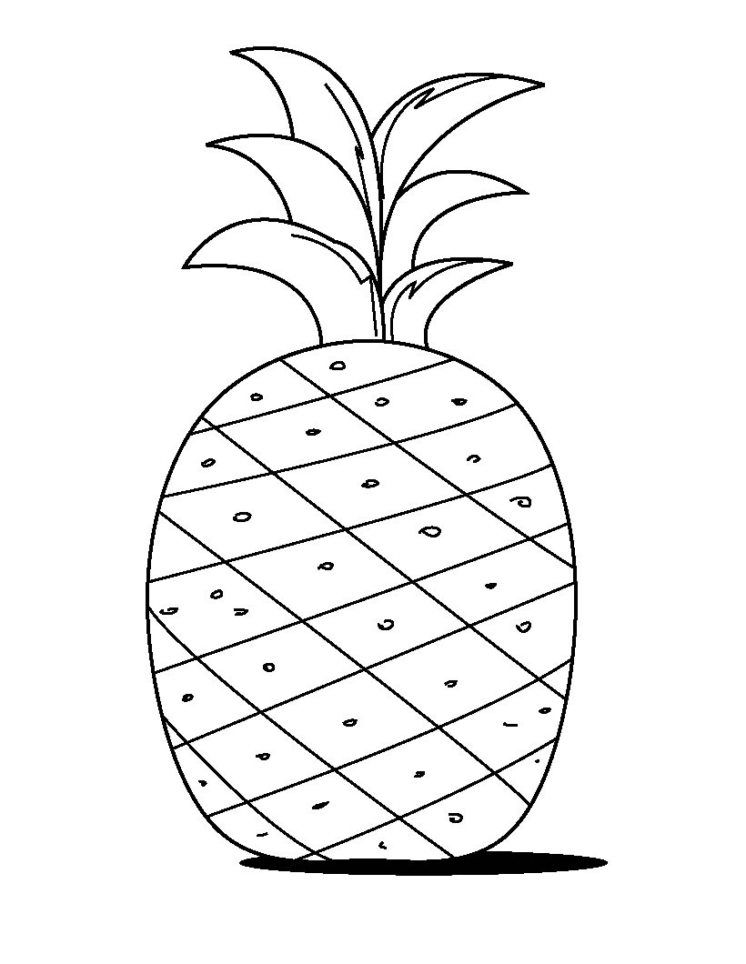 Pineapple Simple Outline Stencil