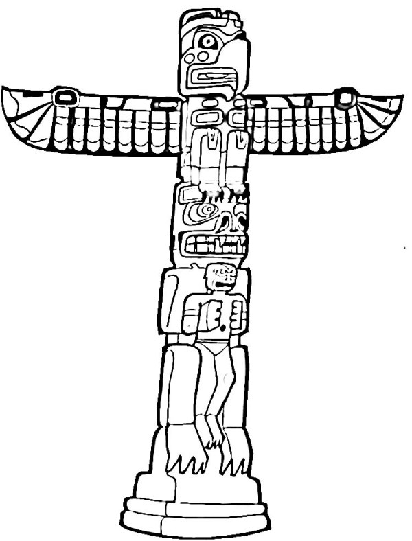 totem pole coloring pages # 12
