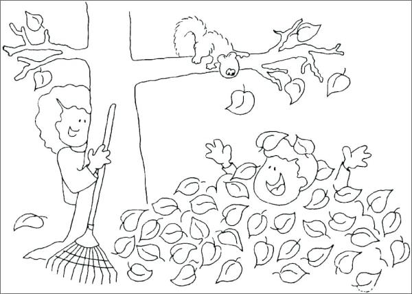fall leaves coloring page # 5