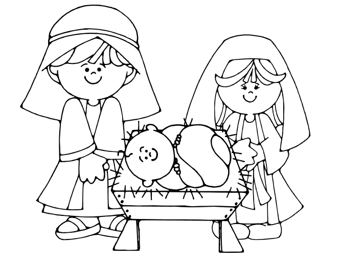 Christmas Nativity Scene Coloring Pages For Kids