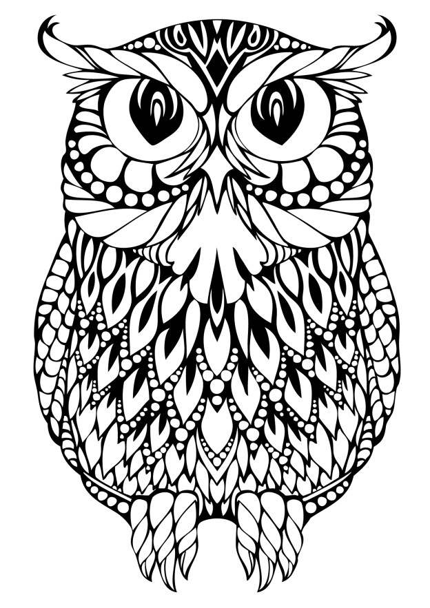 OWL Coloring Pages for Adults. Free Detailed Owl Coloring
