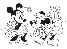 Mickey giving Minnie a Gift - Disney Christmas Coloring Pages