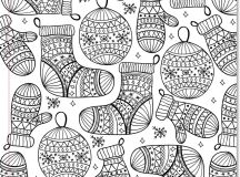 Mittens and Ornaments - Christmas Coloring Pages for Adults