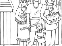 Pilgrims and Indians Thanksgiving Harvest Coloring Pages