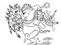 Poohs Tree - Disney Christmas Coloring Pages