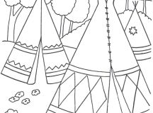 Village - Native American Coloring Pages