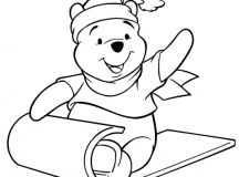 Winnie Sledding - Disney Christmas Coloring Pages