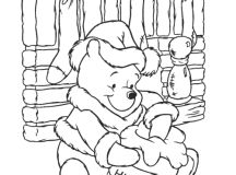 Winnie the Pooh - Disney Christmas Coloring Pages