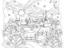 Winter Scene - Christmas Coloring Pages for Adults