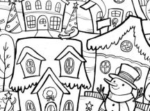 Winter Town - Christmas Coloring Pages for Adults