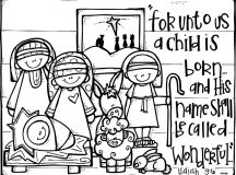 child is born - Christmas Coloring Pages for Adults