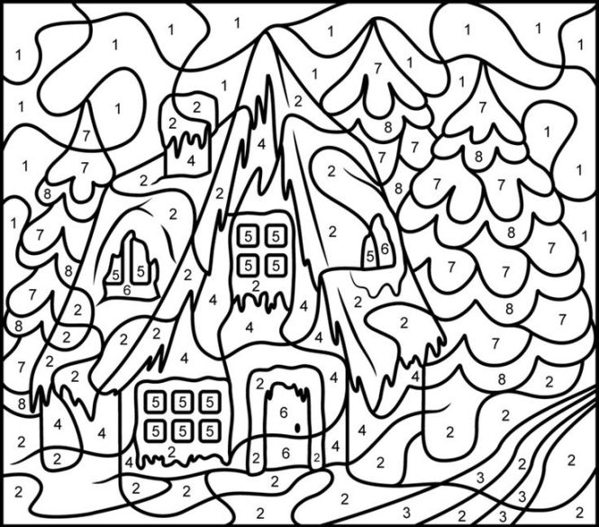 christmas color by number coloring pages | Coloring Page for kids