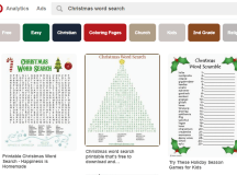 Christmas Word Search - Pinterest