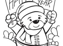Happy New Year Bear Coloring Pages