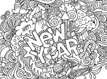 New Year Adult Coloring Page