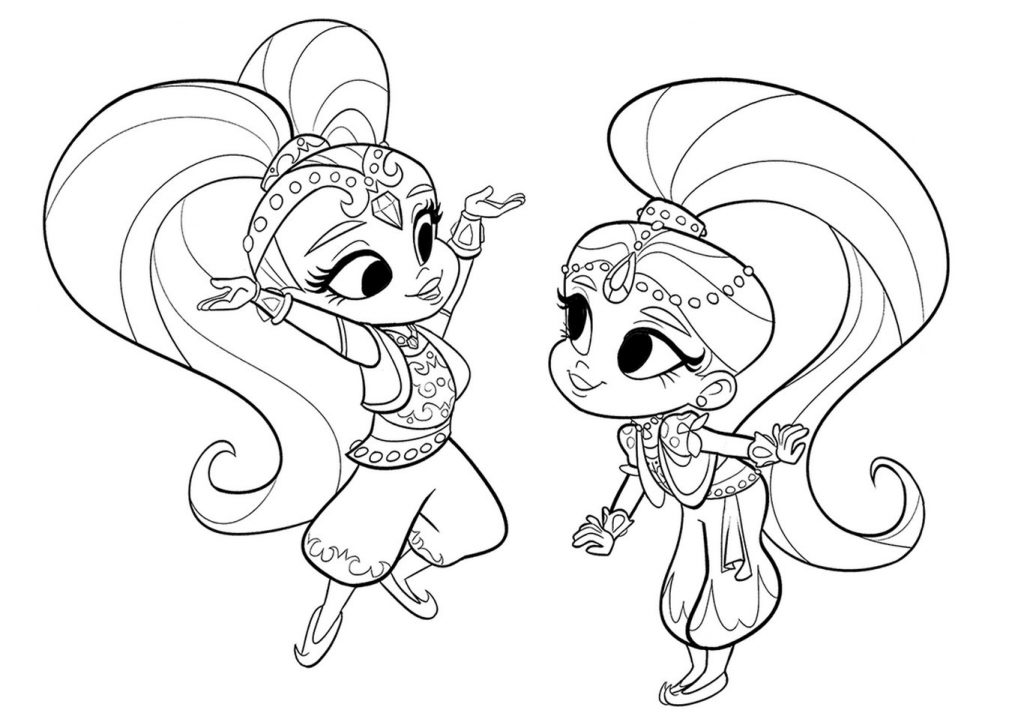 Shimmer And Shine Coloring Pages Leah And Zac