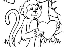 Valentines Day Coloring Pages - Monkey