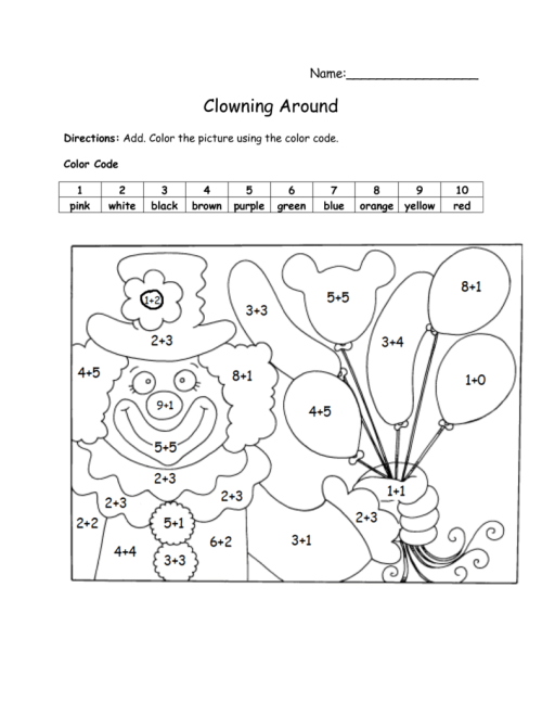 small resolution of Color by Number Addition - Best Coloring Pages For Kids
