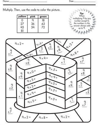 Math Multiplication Times Tables Coloring Pages Sketch
