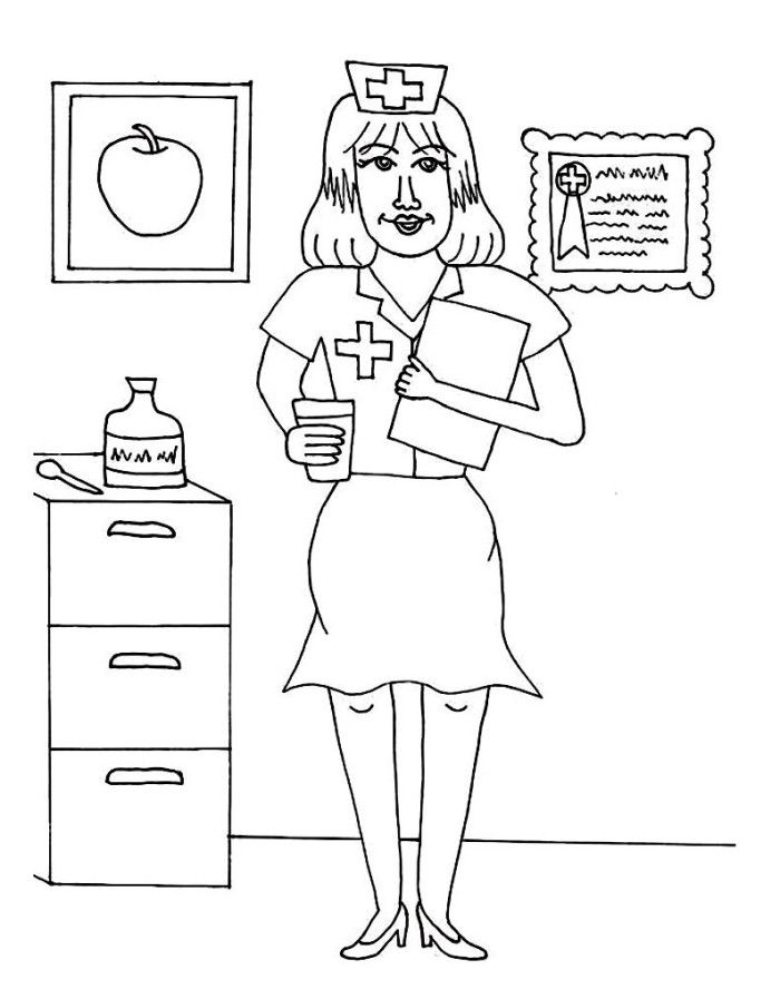 Nurse Christmas Coloring Coloring Pages