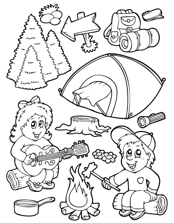 camping coloring page # 16
