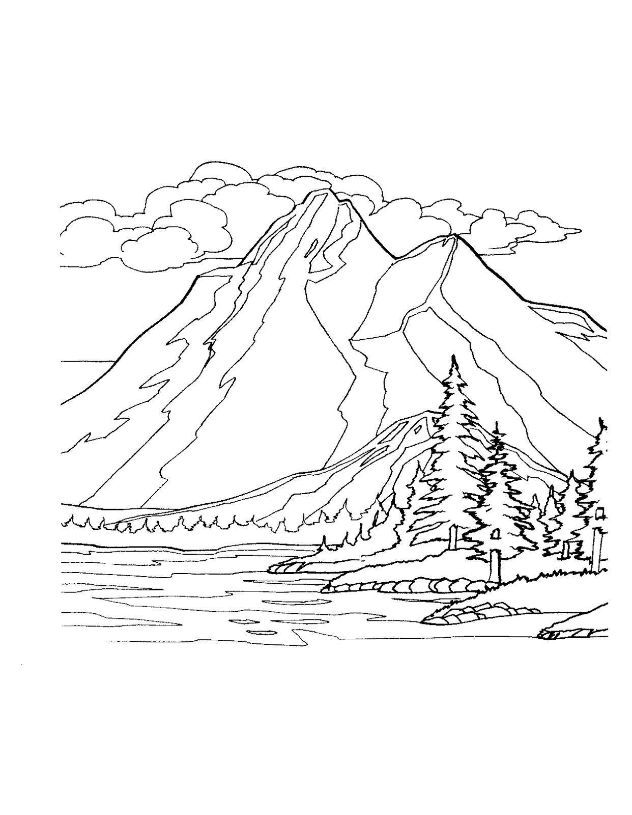 Simple Mountain Range Drawing Sketch Coloring Page