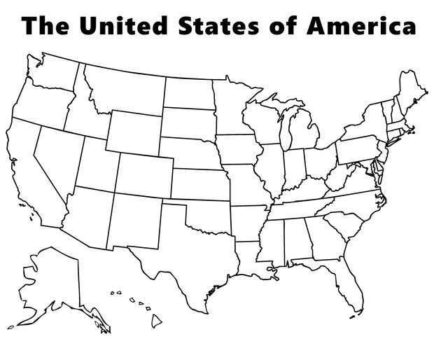 White And And Us Map Alaska Hawaii Black Including