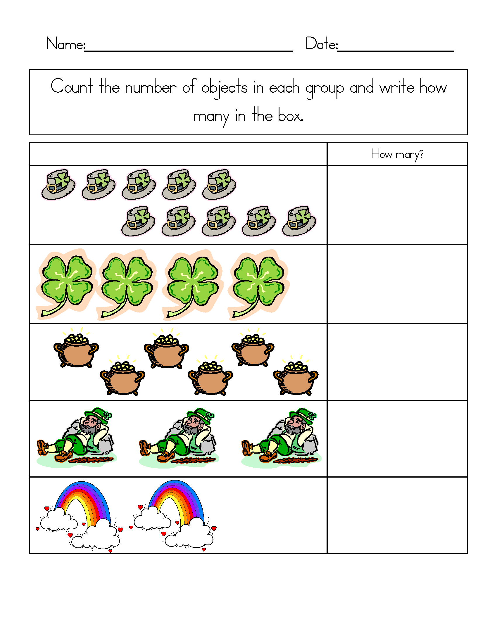 St Patricks Day Worksheets