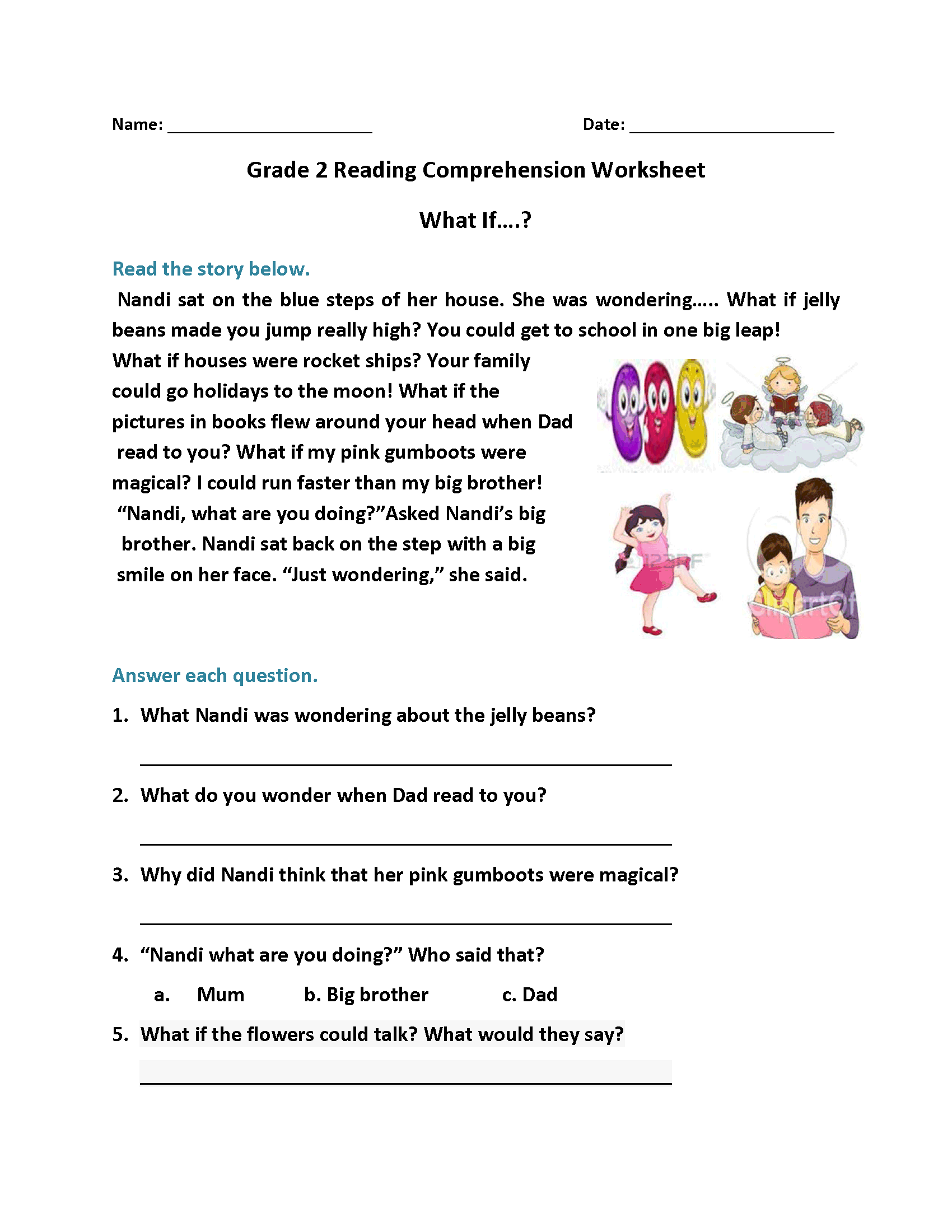 Worksheet For Elementary Reading