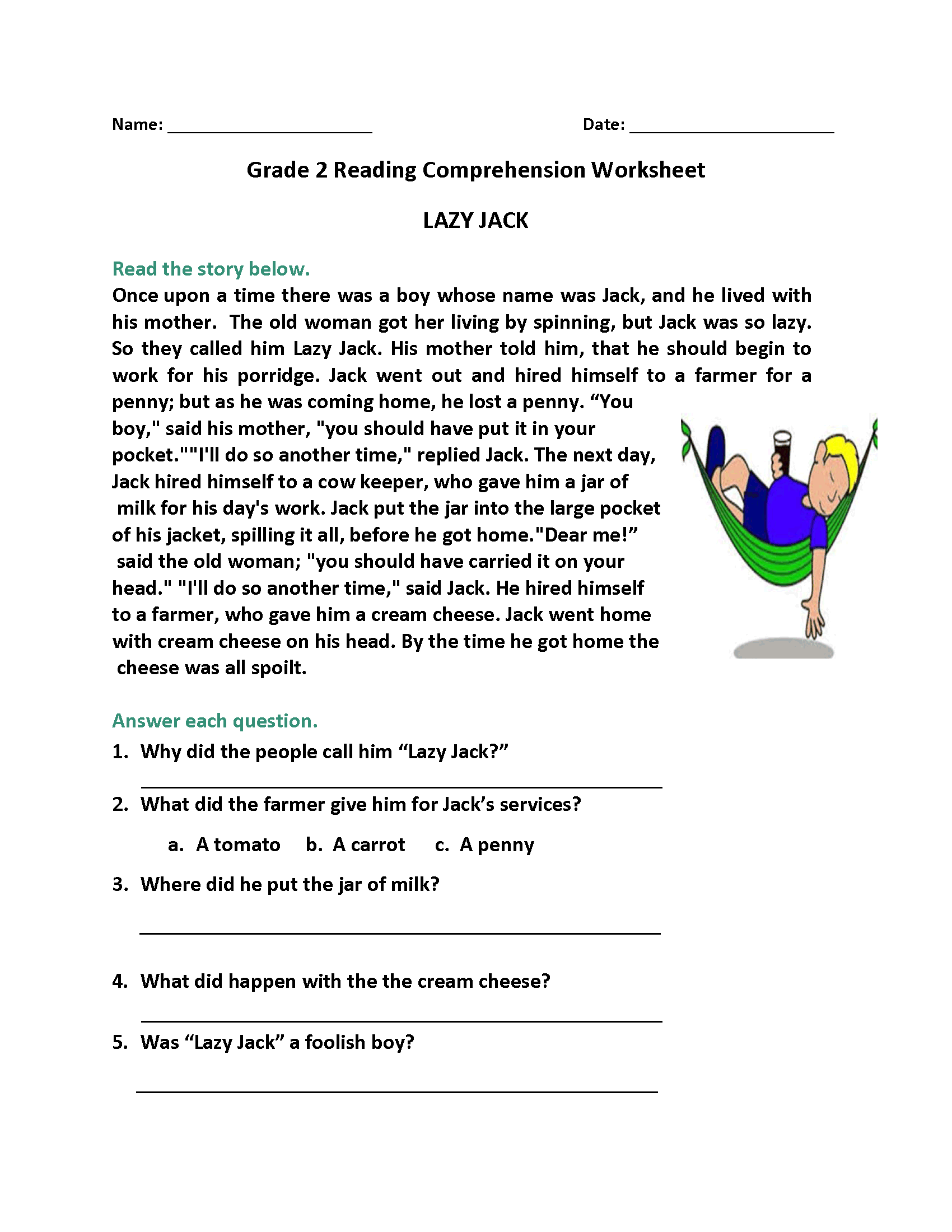 Fun Worksheet For Third Grade Activities