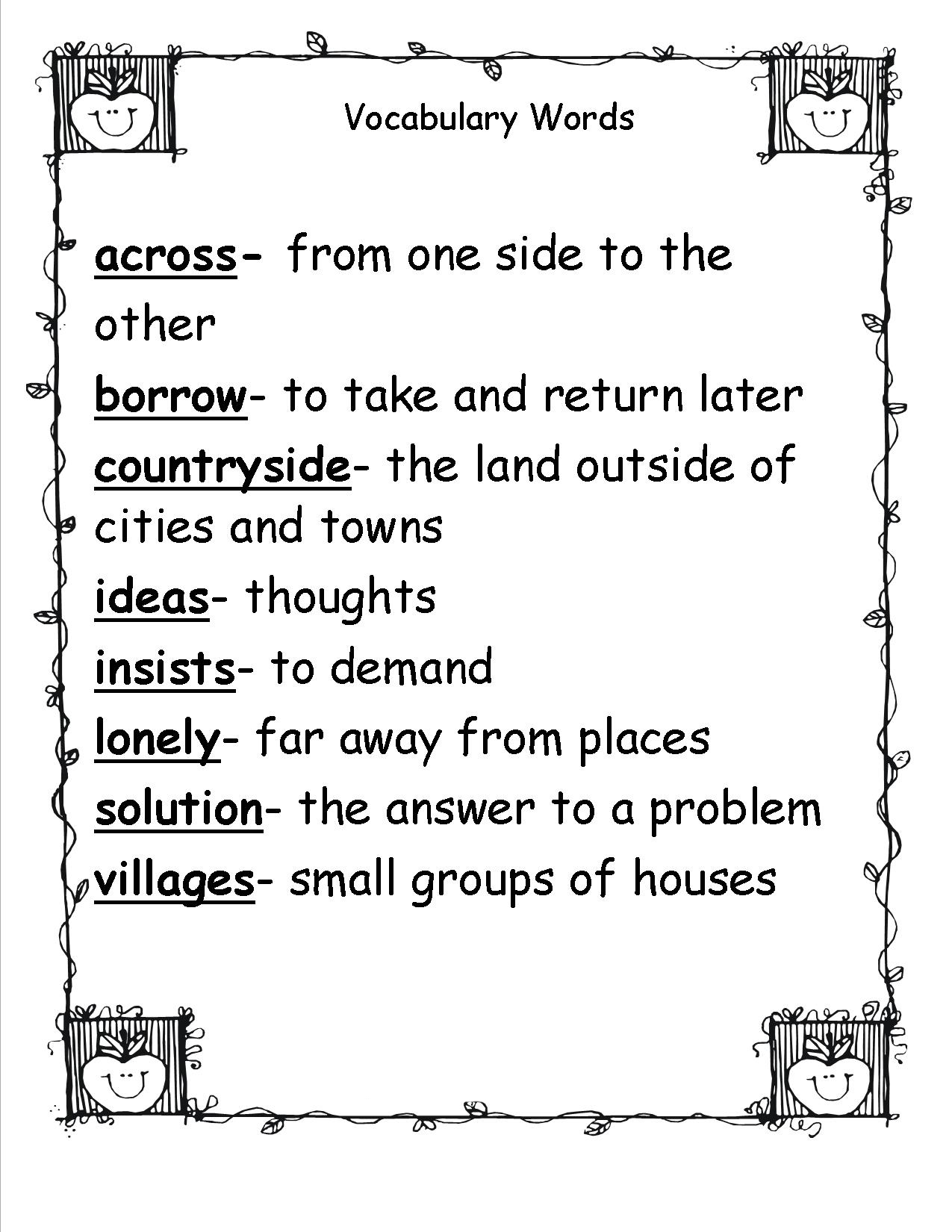 Spelling Word Definitions Worksheet