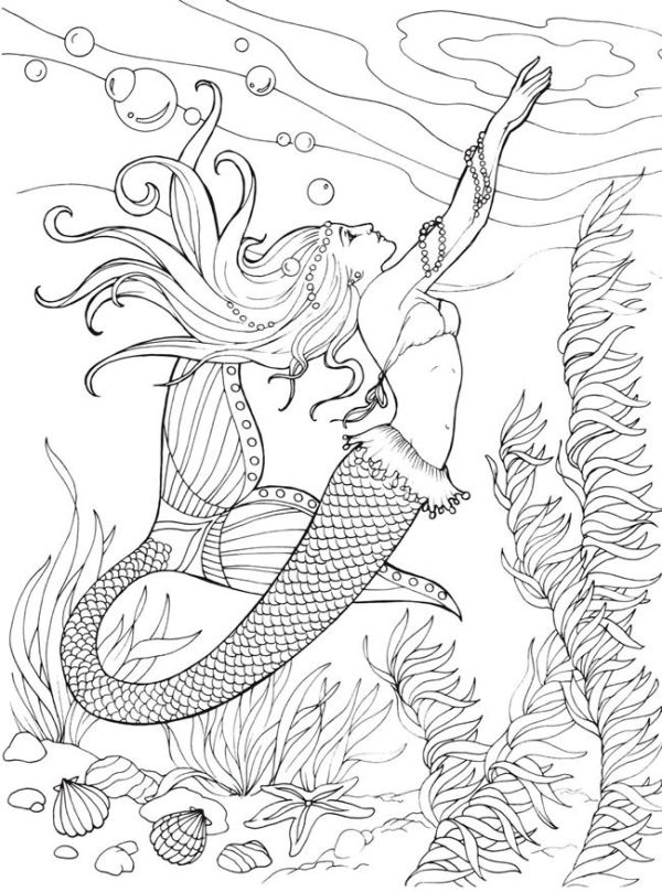 mermaid coloring pages for adults # 1