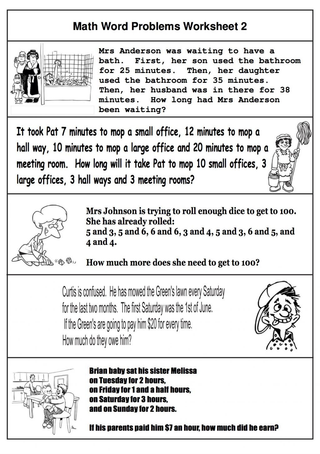 Printables Of Math Word Problems 2nd Grade