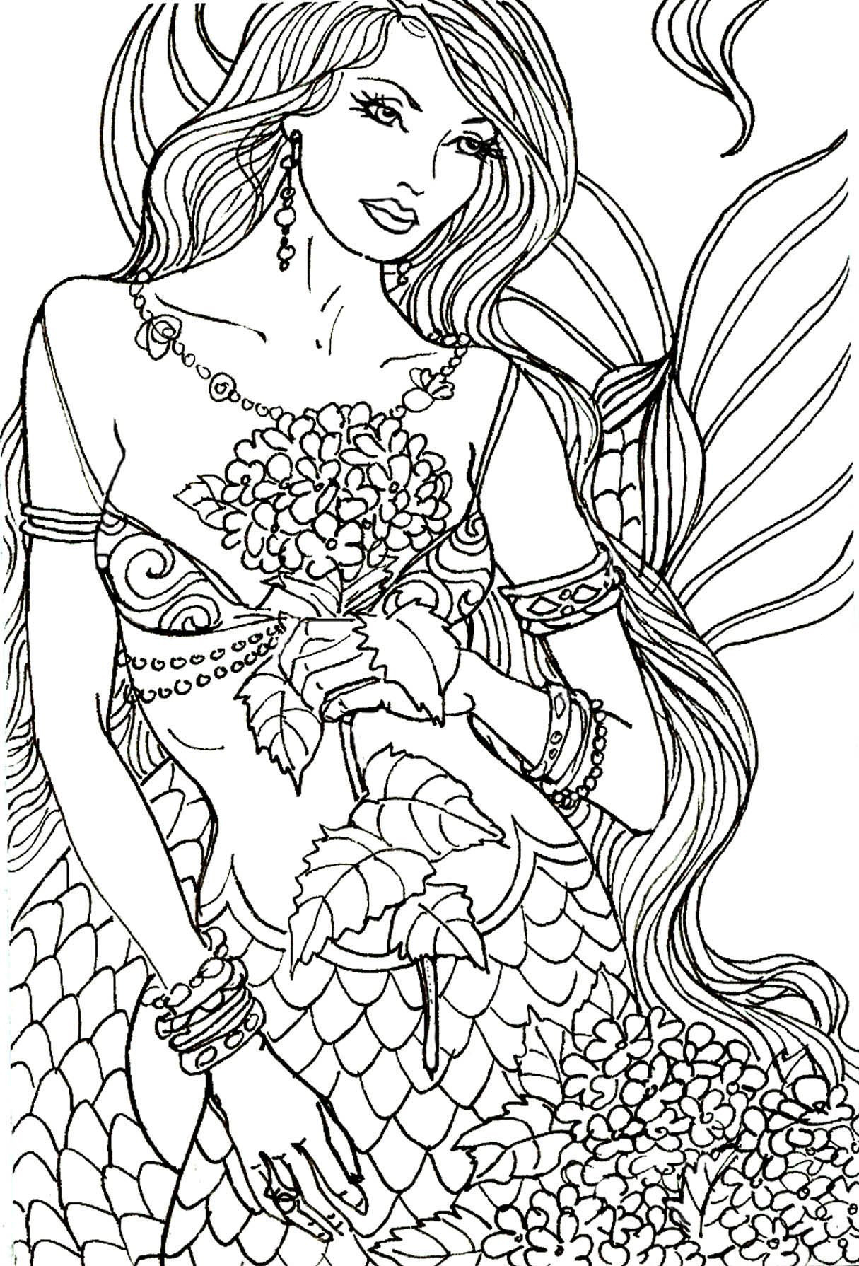 images Free Mermaid Coloring Pages mermaid coloring pages for adults