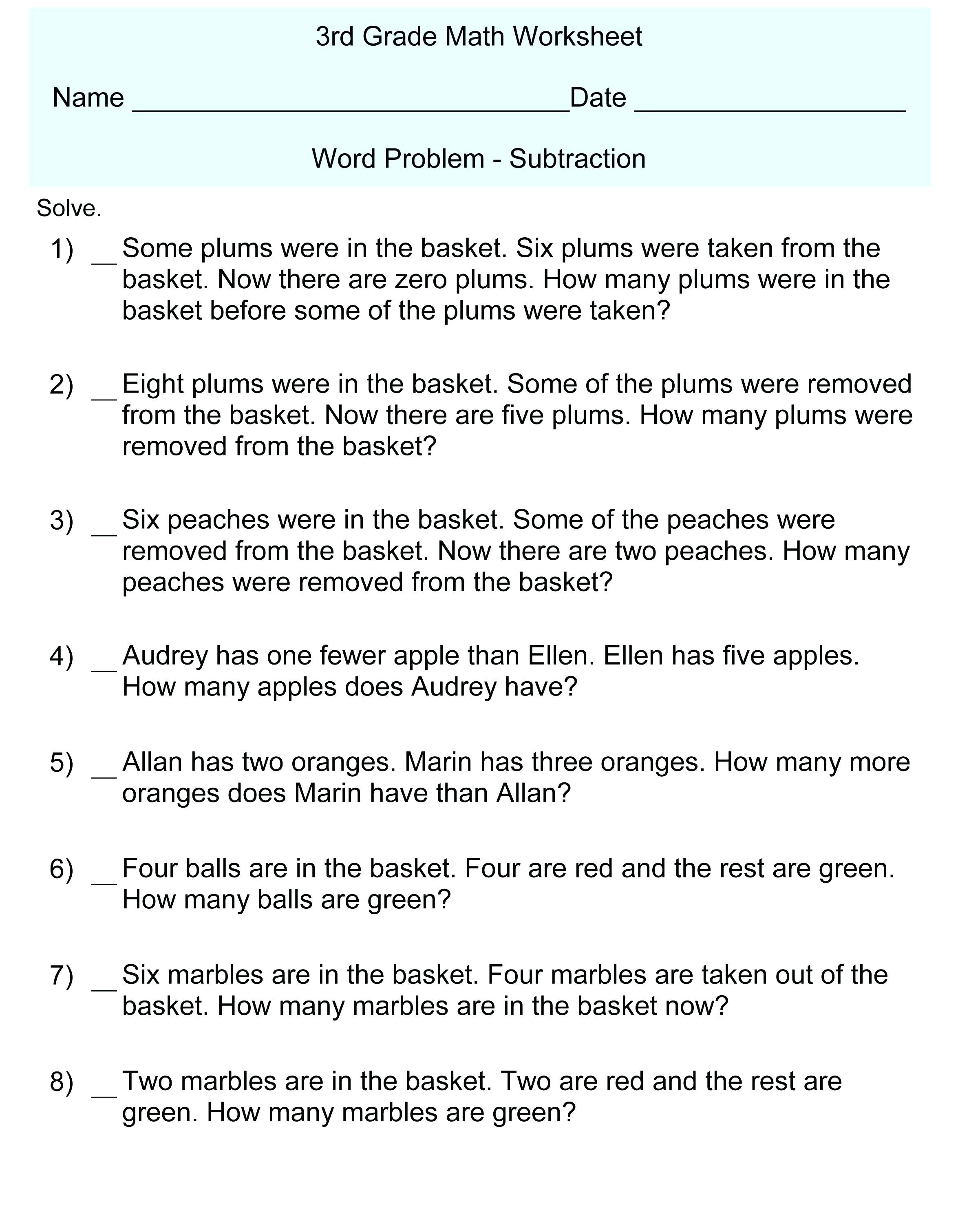 3rd Grade Math Equations Worksheets