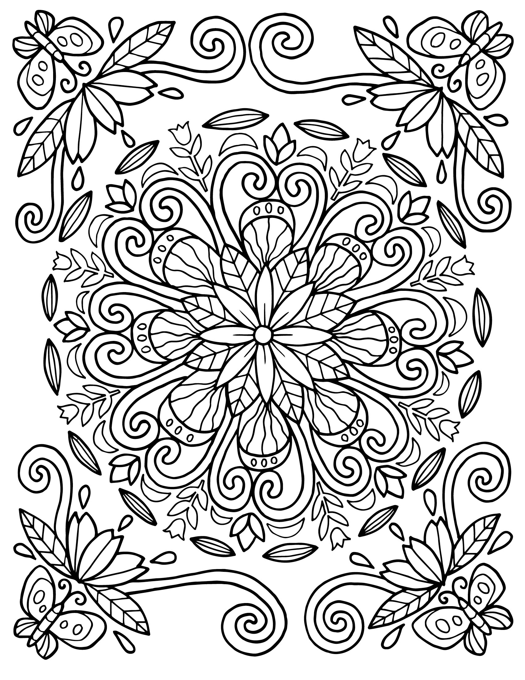 floral coloring pages for