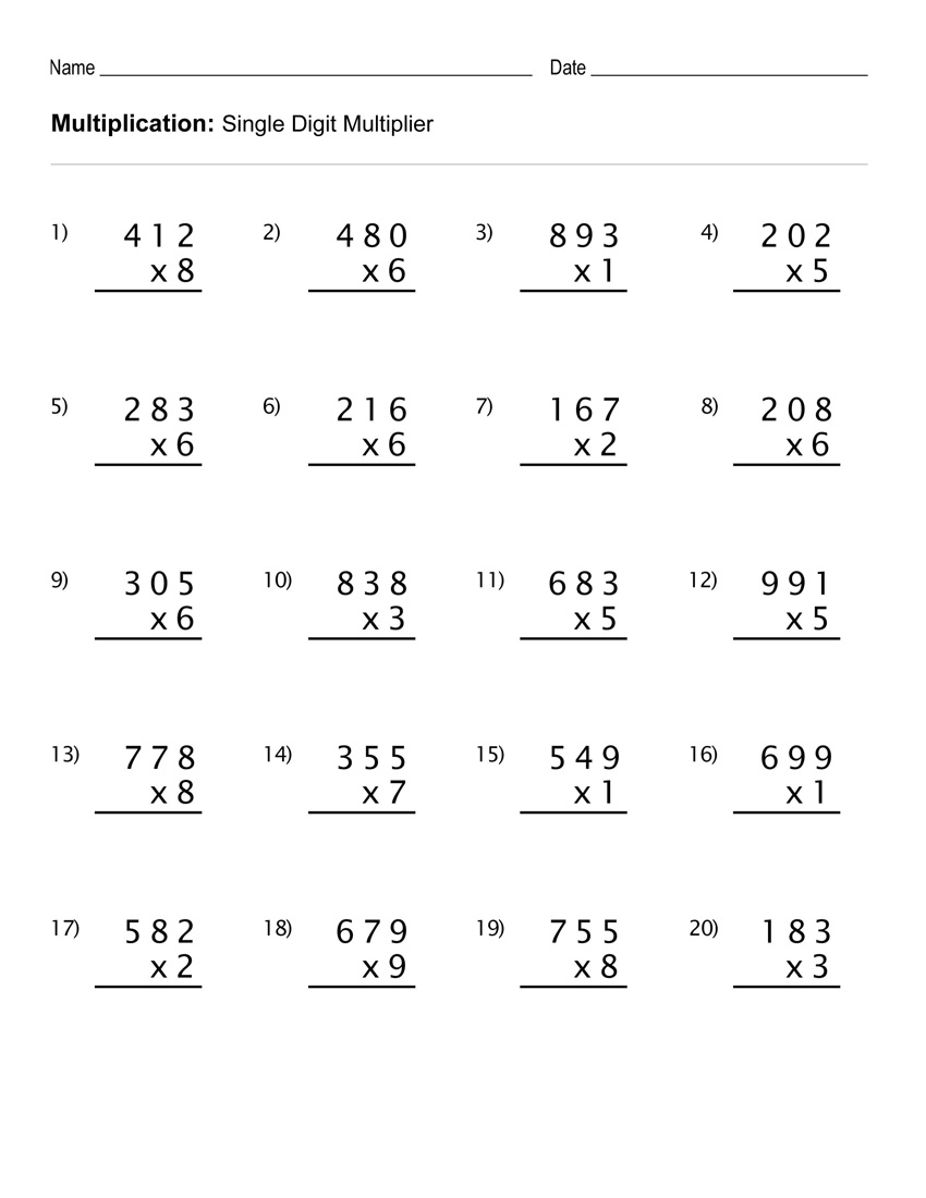hight resolution of 4th Grade Multiplication Worksheets - Best Coloring Pages For Kids