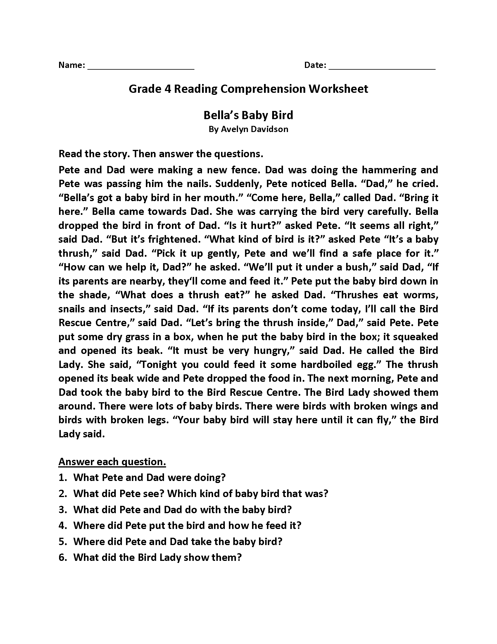 hight resolution of 4th Grade Reading Comprehension Worksheets - Best Coloring Pages For Kids