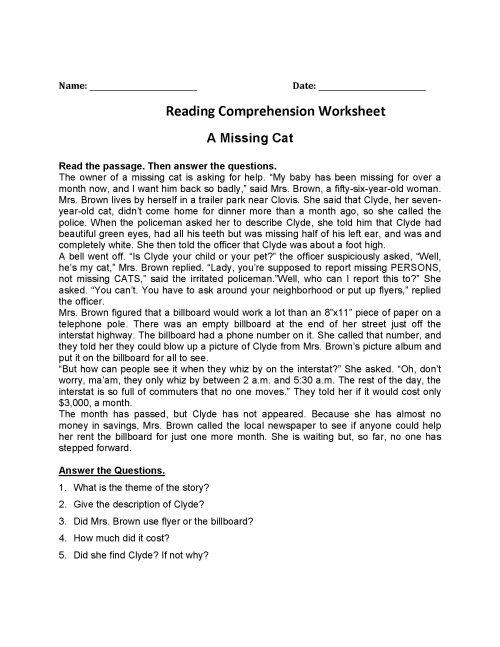small resolution of 4th Grade Reading Comprehension Worksheets - Best Coloring Pages For Kids