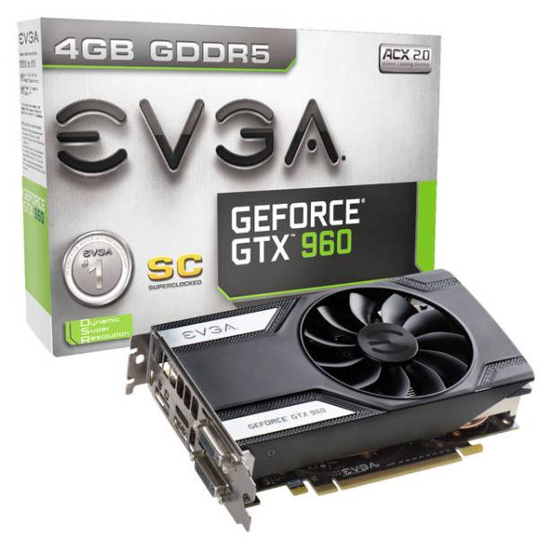 EVGA NVIDIA GeForce GTX 960 Superclocked 4GB GDDR5 2DVI/HDMI/DisplayPort  PCI-Express Video Card
