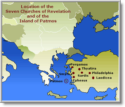 Location of 7 churches of Revelation