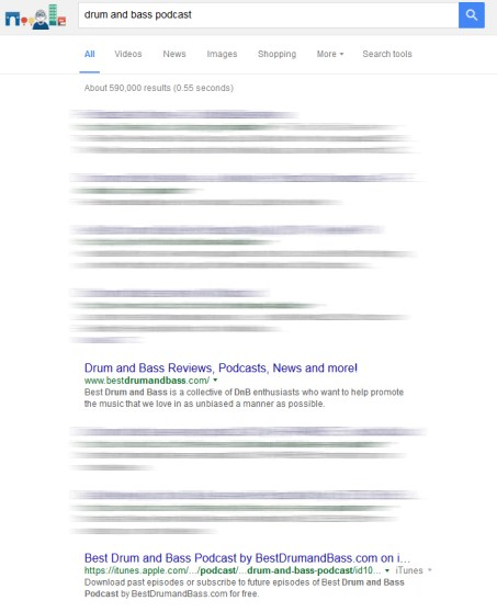 drum and bass podcast search results on Google