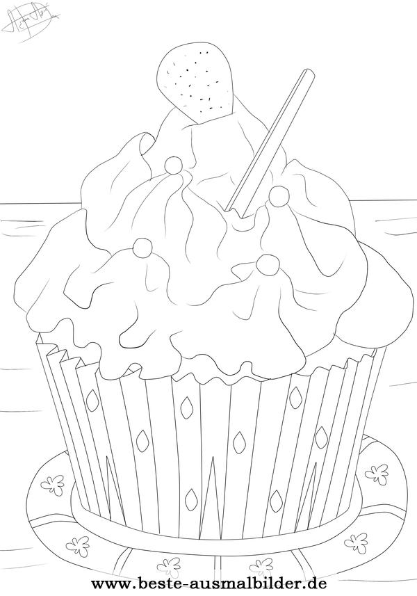 Cupcake Ausmalbild  Kostenlose Ausmalbilder fr Kinder