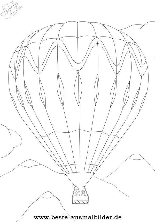 Ausmalbild Heißluftballon - gratis Malvorlagen für Kinder